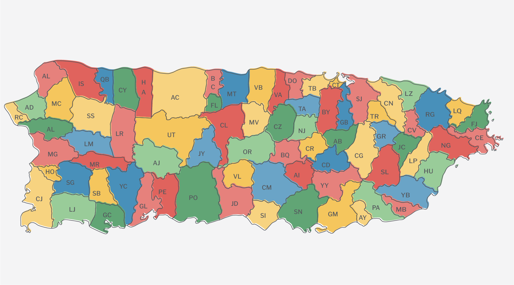 Illustration of Puerto Rico's many municipalities.