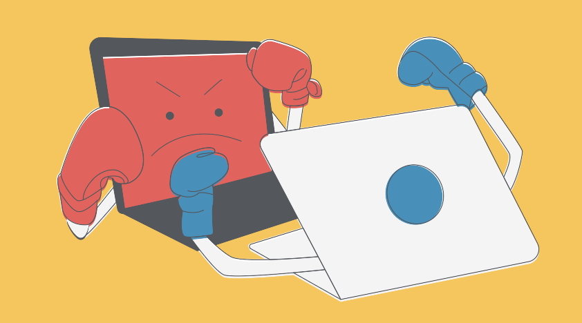 Illustration of two laptop computers boxing each other.