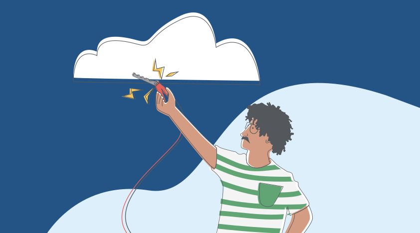 An abstract image showing a car jumpstarter being used on a cloud.