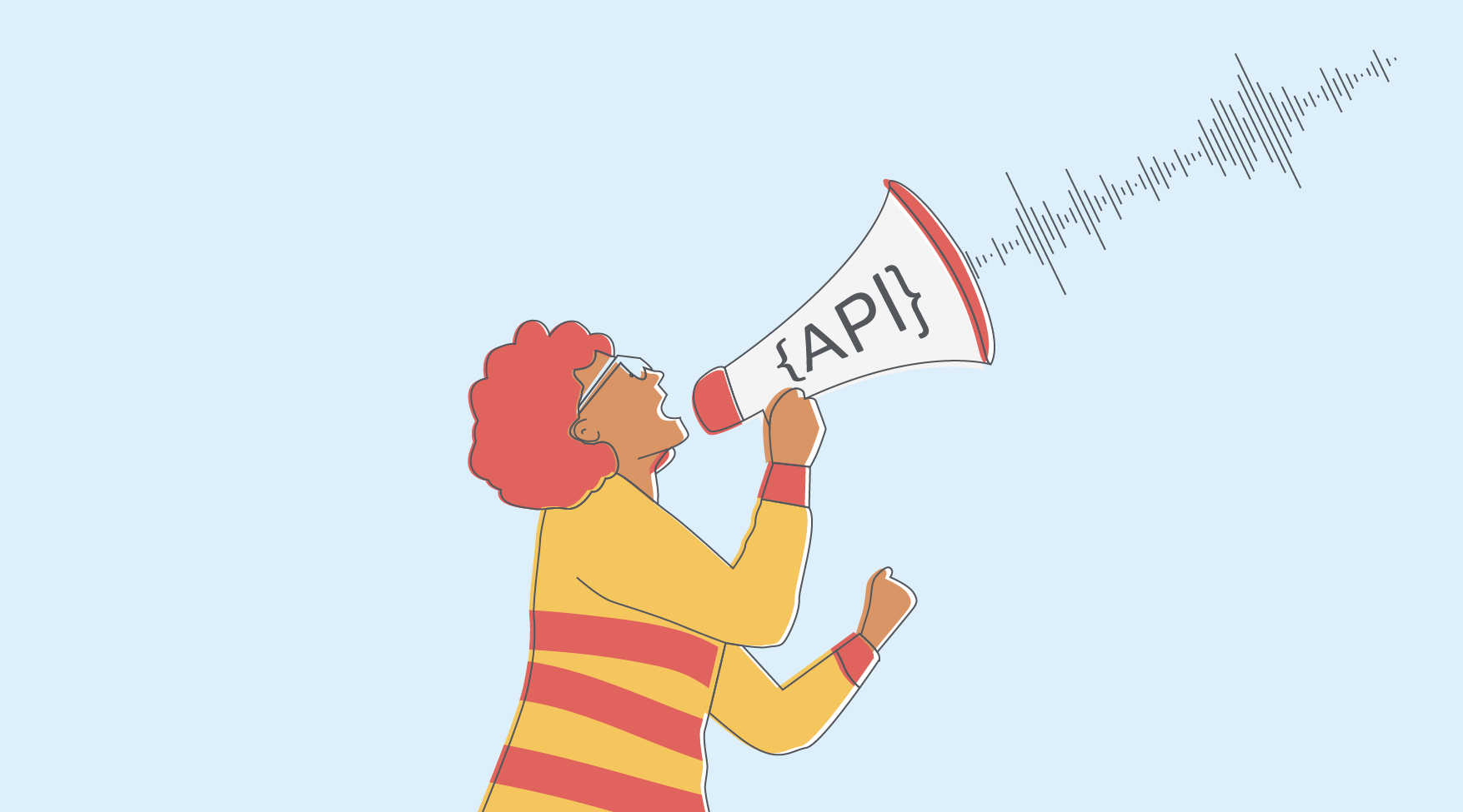Illustration of a megaphone enclosed within API computing symbols.